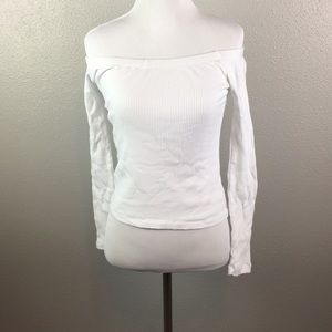 Ambiance Tops - Henley white crop top off the shoulder